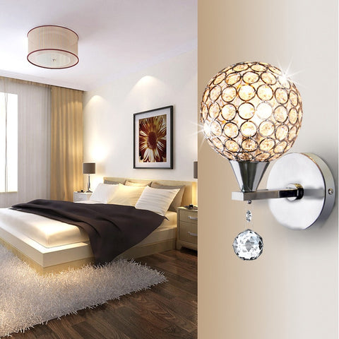 luxury crystal wall lamp sitting room corridor wall lamp bedside lamp round sweet bedroom adornment lamps and lanterns