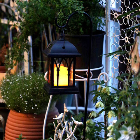 High Quality Solar Power Waterproof LED Candle Light Garden Lawn Path Street Hanging Ground Lantern Lamp VE