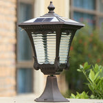 Retro popular solar lights waterproof lanterns headlights residential community pillar light outdoor villa countyard garden lamp