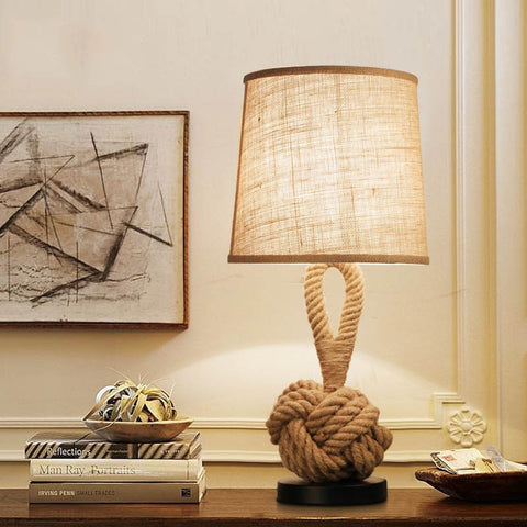 Fabric Art Led Table Lamp Living Room Cafe Bedroom Bedside Lamp Retro Hemp Rope Home Decor Desk Lamp Luminaria Table Lanterns