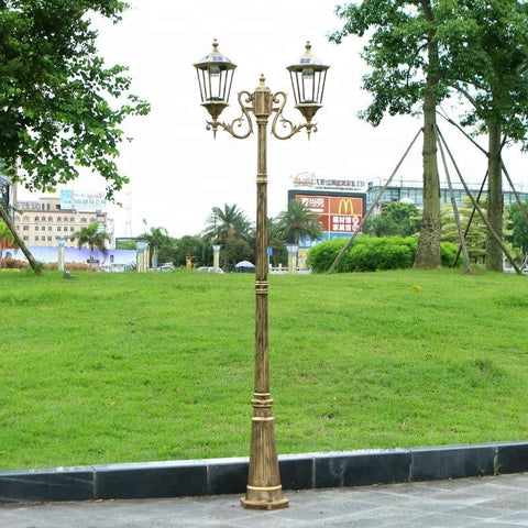 Free Shipping Via express Double Arm 3m Solar Post Lantern With Pole Outdoor Garden Decorative