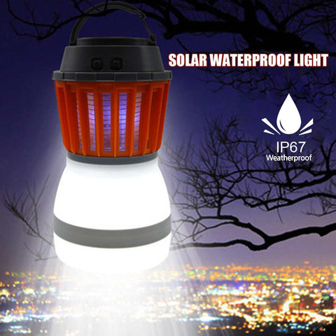 Solar Panel LED Portable Electric Mosquito Killer Waterproof Outdoor USB Light Camping Garden Anti Pest Insect Lamp Lantern