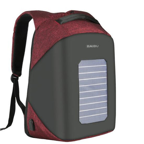 10W Solar Panel Designer Man Backpack USB Charging Anti-Theft 15.6'' Laptop Backpack Women Waterproof Bags Rucksack Knapsack