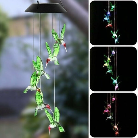 Color-Changing LED Solar Powered Hummingbird Wind Chime Lights Yard Garden Decor Lamparas Jardin Christmas Outdoor Ground Light