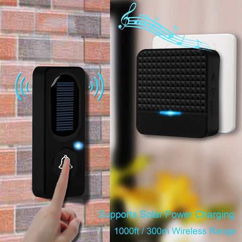 CWH Wireless Doorbell Solar Powered Waterproof Intercom with Wireless Chime Support 200-300M Working Distance