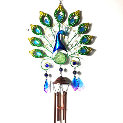 new Waterproof light solar peacock wind chime light wrought iron peacock hanging  wind chime hanging light with light control