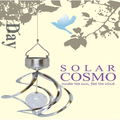 Solar lamp novelty Colorful LED Solar Wind Chime Light Crack Ball Spiral Spinner LED light solar charging panel lamp 151006