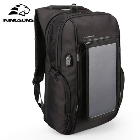 "Kingsons Brand 15.6"" Solar panels rechargeable External USB Charge backpack Laptop Backpacks Anti-theft Bags for Men New Arrival"