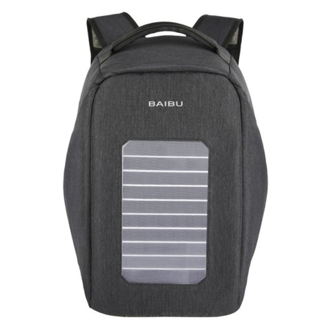 BAIBU Solar USB Charge Backpack Men Anti-The Notebook Computer Waterproof Travel Bags Teenagers Men Women Fallow School Bags