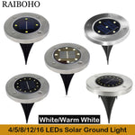 4/5/8/12/16 LED Solar Ground Light Waterproof Garden Pathway Solar Lamp for Home Yard Driveway Lawn Road White/Warm White