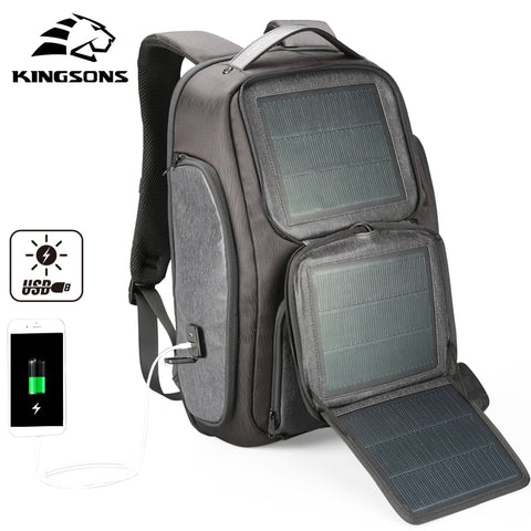 Kingsons New Arrive Solar Fast-charging Backpack For Men USB 15.6 Inch Laptop Bags Knapsack Business Travel Backpacks Mochila
