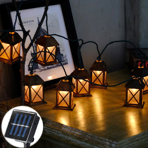 20Led Fairy Retro House lantern Solar Power String Lights 5M LED Decoration For Christmas Garland New Year gerlyanda 2018