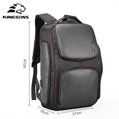 Kingsons 2018 New Backpack Upgraded Solar Backpack Fast USB Charging Kanpsack 15.6 inches Laptop Backpacks Male Women Travel Bag
