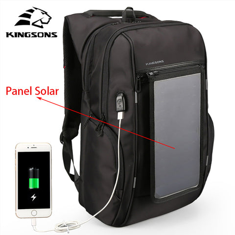 "Kingsons3140 Mochilas Con Panel Solar Backpack USB Convenience Charging 17"" Laptop Backpack Men Large Capacity Notebook Backpack"