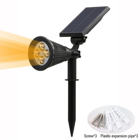 T-SUNRISE Solar Powered 4/7 LED Lamp Adjustable Solar Spotlight In-Ground IP65 Waterproof Landscape Wall Light Outdoor Lighting