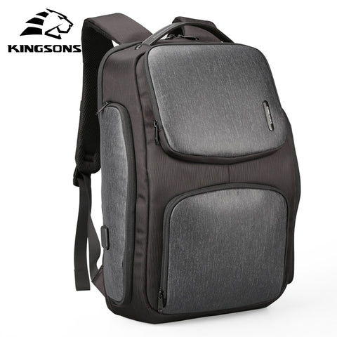 Kingsons Brand Casual Men USB Charge Backpack Unisex Updated Solar Panels Bag Large Capacity Computer Bag for 15.6 inch Laptop