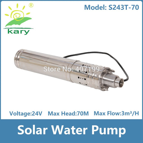 Kary 2017  3T 684w stainless steel submersible dc 24v lift 70m  solar water pump,brushless deep well water fountain pump