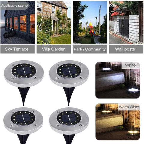 12 LED Solar Power Buried Light IP44 Waterproof Outdoor Path Way Ground Lamp For Garden Decoration