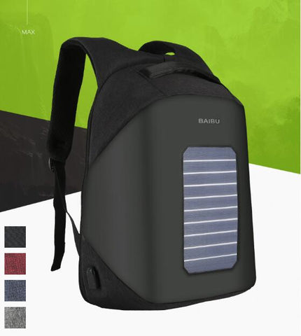 POESECHR  2018 Solar panels rechargeable External USB Charge backpack Laptop Backpacks Anti-theft Bags for Men Women