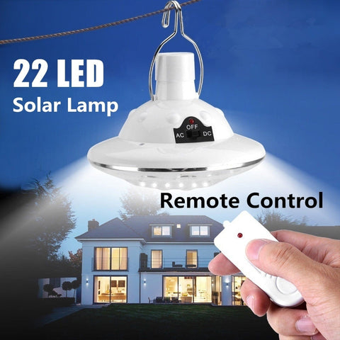22 LED Solar Powered Yard Hiking Tent Light Outdoor Camping Hanging Lamp With 3.7 v / 1 w Remote Control Pure White Solar panel