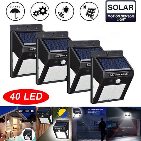 4 Pack 40 LED Solar Light Wall Lamp PIR Motion Sensor Waterproof IP65 Outdoor Garden Security Lights Luz Solar Led Para Exterior