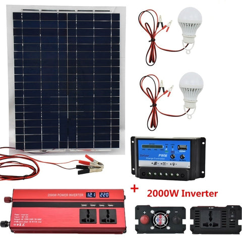 20W 12V Polysilicon Silicon Solar Panel Solar 2000W Inverter 12V/24V To 220V/110V+PWM 10A Charge Controller Battery Charger Kit