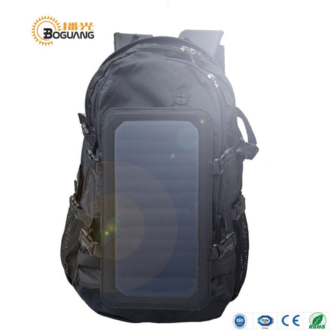 Solar Panel Backpack 6.5w USB Charging Oversize Large Quantity Men's and Women's Bag Unisex Travel Outdoor Camping Lap School