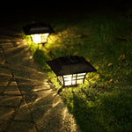 Square Led Solaire Light Outdoor Decoation Lighting Solar Lamp Glass Outdoor Wall Lantern LED Solar Garden Light Decor