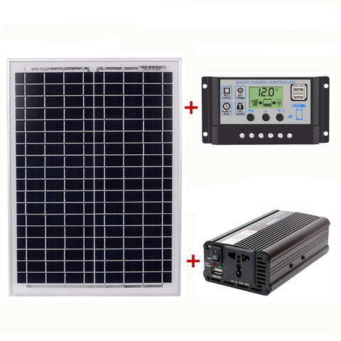 18V20W Solar Panel +12V / 24V Controller + 1500W Inverter Ac220V Kit, Suitable For Outdoor And Home Ac220V Solar Energy-Saving