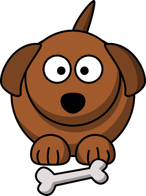 Cartoon drawing of a brown dog sitting in front of a white bone.