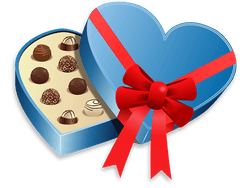 Illustration of heart-shaped box of chocolates tied with a red bow.
