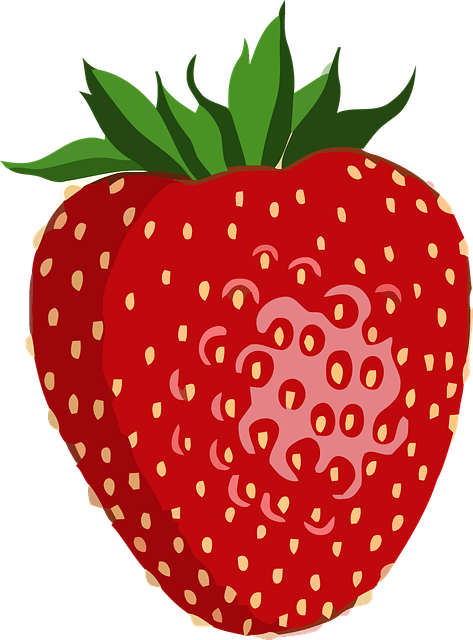 an dogs eat strawberries? Simple illustration of a big red strawberry.