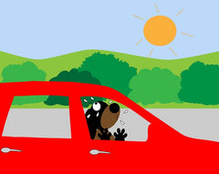 Do not leave dogs in cars on summer road trips
