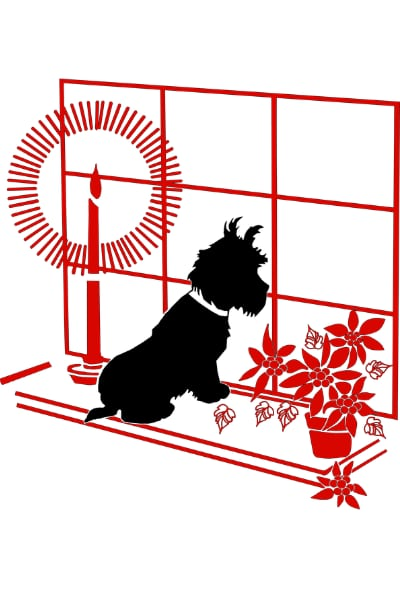 Holiday hazards for pets. Illustration of dog sitting on windowsill with candle one side and Christmas plant on the other.