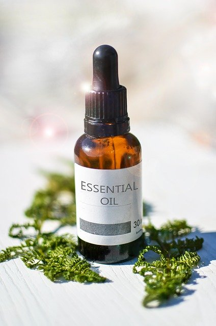 Alt Text: Bottle of essential oil – will baking soda help my dog stop itching?
