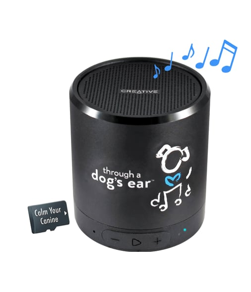 Photo of iCalmPet speaker playing music to calm dogs.