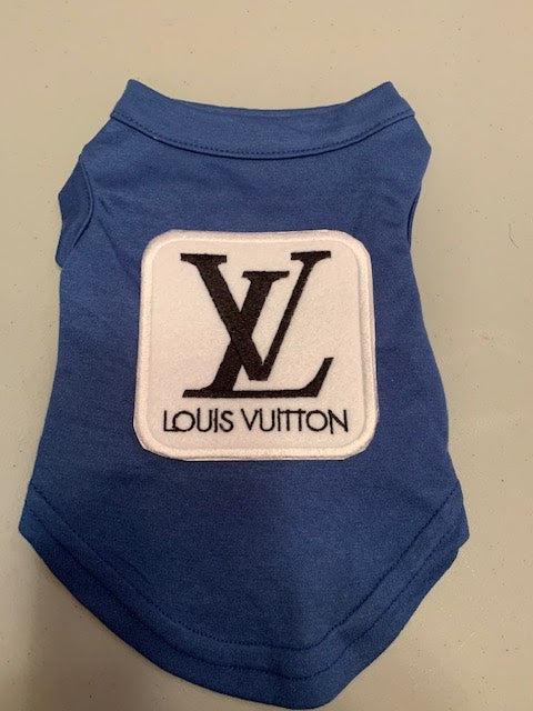 Louis Vuitton inspired white square LV logo patch tank vest