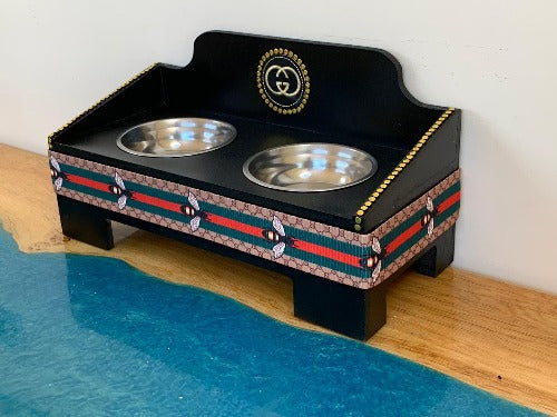 Gucci inspired dog feeder with red and green trim