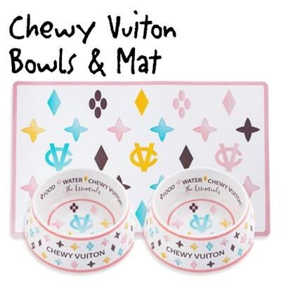 Brand new Chewy Vuiton Bowls & Mat