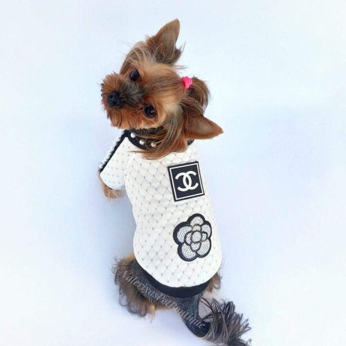 Handmade Designer Inspired White Dog Sweater with Pearls and Flower