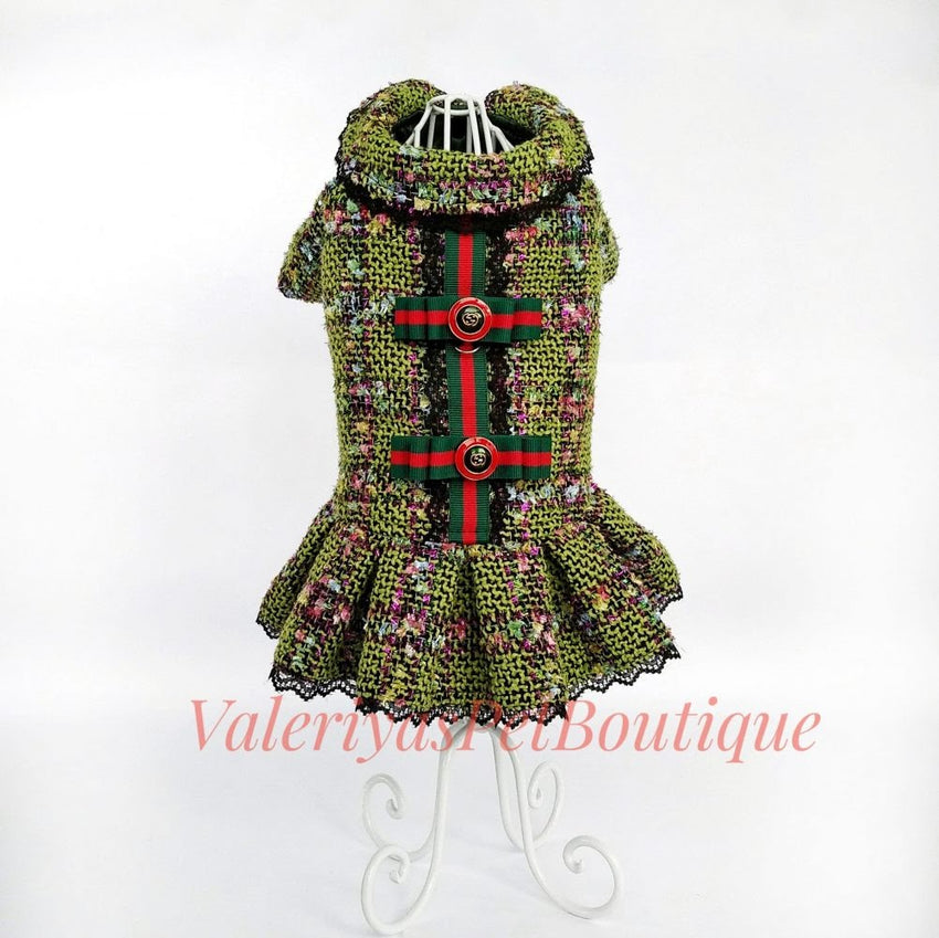 NEW - Handmade Green tweed dog jacket