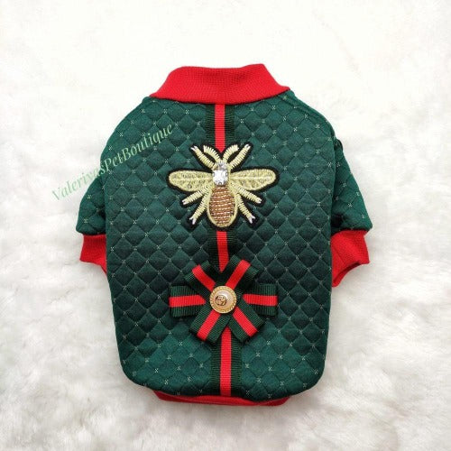 Handmade Gucci Inspired Green and Red sweater with bow and bee