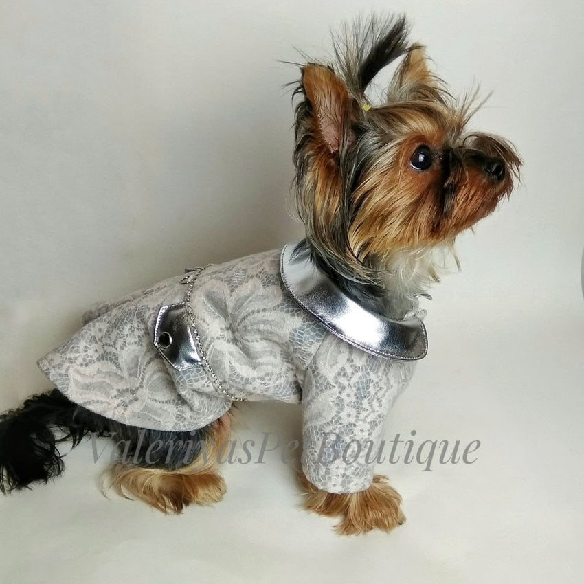 NEW - Handmade Silver lace and metallic warm dog coat
