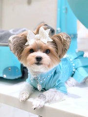 NEW - Handmade Tiffany inspired denim dog dress