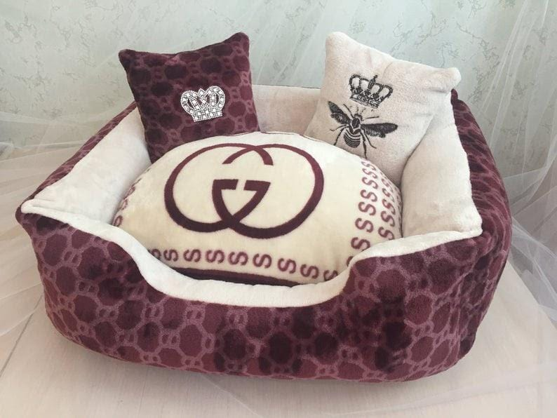 Soft Gucci Dog Bed with pillows
