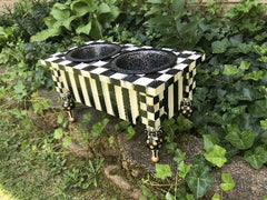 Hand-Painted Black & White Pet Feeder