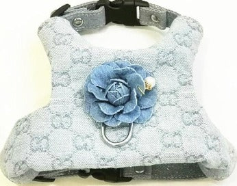 Blue Grrucci Harness with flower
