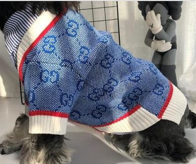 Blue Grrucci Inspired Dog Sweater