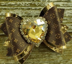 Brown & Gold Louis Vuitton inspired dog bow