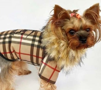 Burberry inspired winter coat with faux fur collar